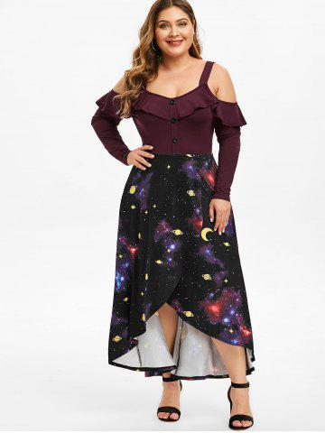 Plus Size Ruffled 3D Galaxy High Low Maxi Tulip Dress