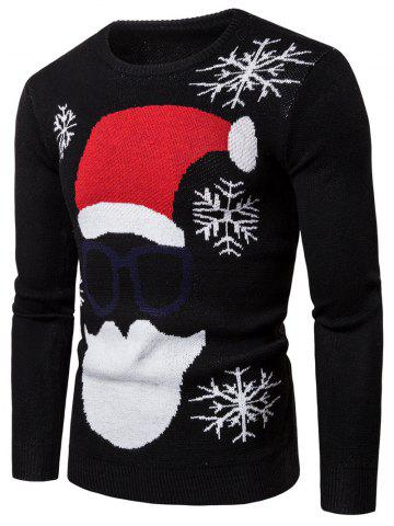 Christmas Santa Claus Pattern Sweater - BLACK - L