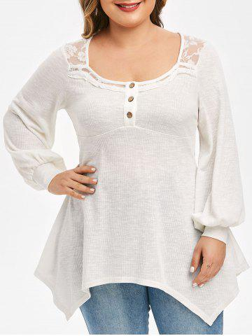 Plus Size Handkerchief Lace Panel Puff Sleeve Top - WHITE - M