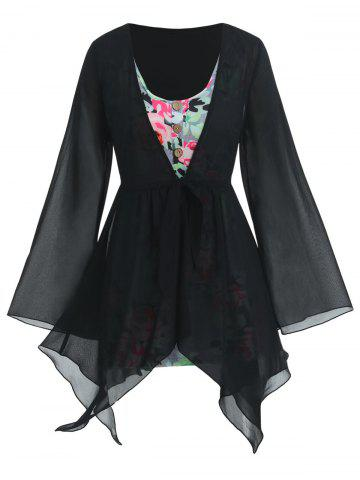 Plus Size Handkerchief Sheer Blouse And Floral Top Set