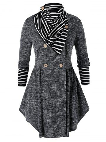 Plus Size Space Dye Skirted Cardigan With Striped Scarf - BLACK - 2X