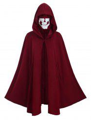Plus Size Halloween Hooded Cape Coat with Skull Mask -