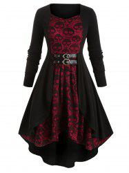 Plus Size Skull Lace Halloween High Low Dress -