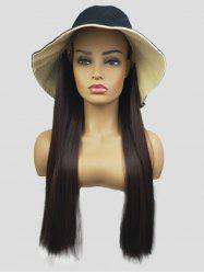 Bucket Hat Integrated Long Straight Synthetic Wig -