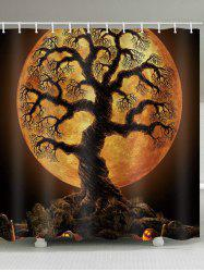 Rideau de douche imperméable à l'eau Halloween Tree Moon Night Print - Orange Halloween Largeur 71 x Longueur 71 pouces