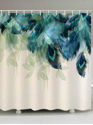 Leaves and Feather Print Waterproof Bathroom Shower Curtain -
