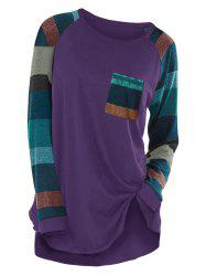 Raglan Sleeve Striped Pocket Longline T-shirt -