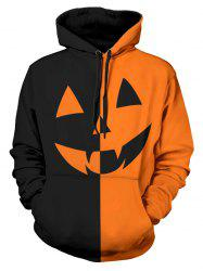 Halloween Pumpkin Two Tone Panel Pullover Hoodie -