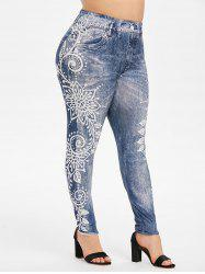 Pull On High Waisted Printed Plus Size Jeggings -