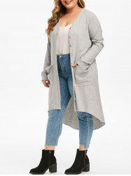 Pockets Button Up Ribbed High Low Plus Size Cardigan -