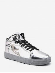 Casual Metallic Mid Top Skate Shoes -