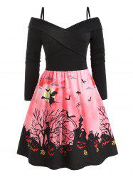 Plus Size Vintage Criss Cross Halloween Print Party Dress -