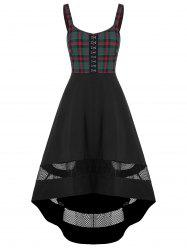 Hollow Out Checked Panel High Waist Dress -