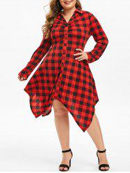 Plus Size Handkerchief Buttoned Plaid Dress -