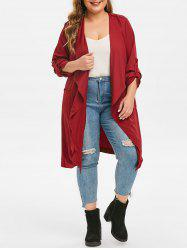 Plus Size Waterfall Collar Longline Trench Coat -
