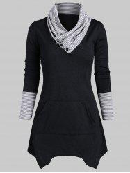 Striped Mock Button Asymmetrical Knitwear -