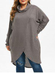 Plus Size Cowl Neck  High Low Long Tulip Knitwear -