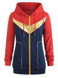 Plus Size Gilding Piping Colorblock Zip Up Hoodie -