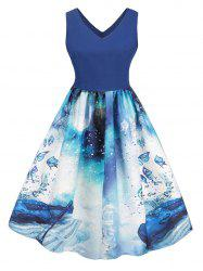 Plus Size Vintage Butterfly Musical Notes Print Swing Dress -