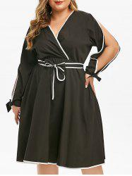 Plus Size Plunge Split Sleeve Contrast Trim Surplice Dress -