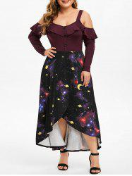 Plus Size Ruffled 3D Galaxy High Low Maxi Tulip Dress -