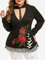 Plus Size Gothic Embroidered Cut Out Ripped Punk Hoodie -