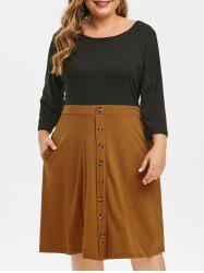 Plus Size Two Tone Button Embellished Dress -