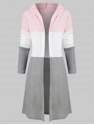 Colorblock Longline Hooded Cardigan -