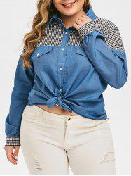 Plus Size Front Knot Chambray Checked Shirt -