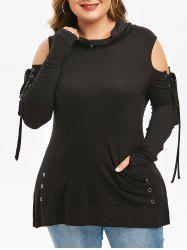 Plus Size Cowl Neck Grommets Lace Up Gothic Tee -
