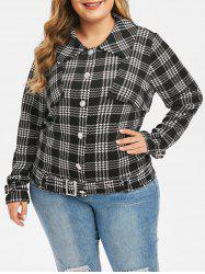 Plus Size Button Up Belt Houndstooth Jacket -