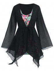 Plus Size Handkerchief Sheer Blouse And Floral Top Set -