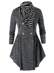Plus Size Space Dye Skirted Cardigan With Striped Scarf -