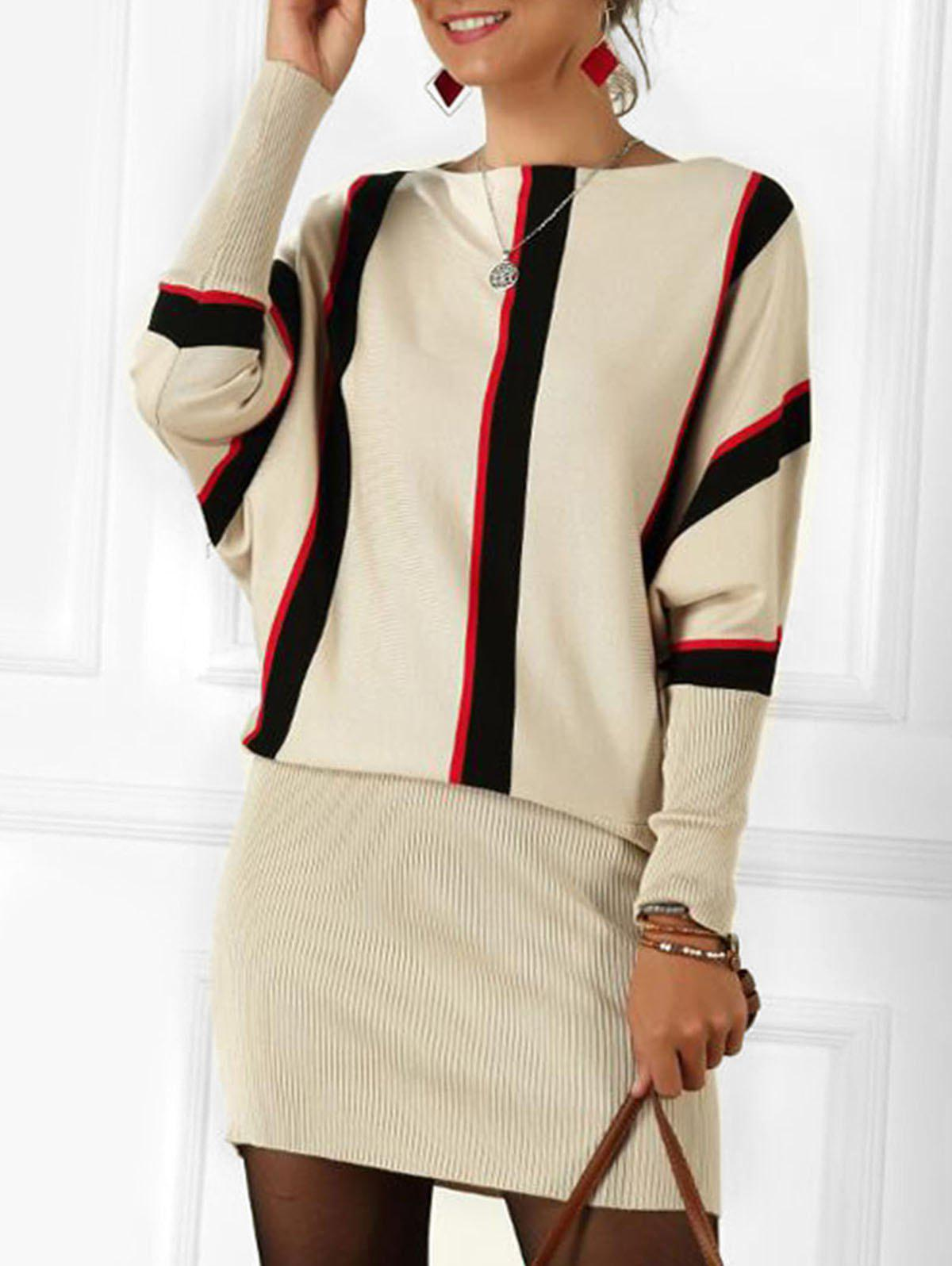 Store Boat Neck Striped Batwing Sleeve Mini Dress