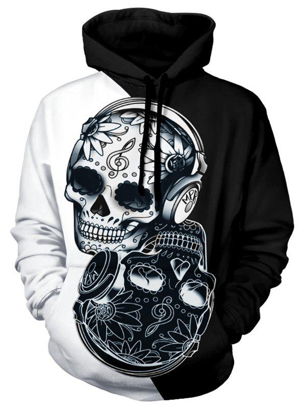 Fashion Floral Skull Two Tone Panel Halloween Hoodie