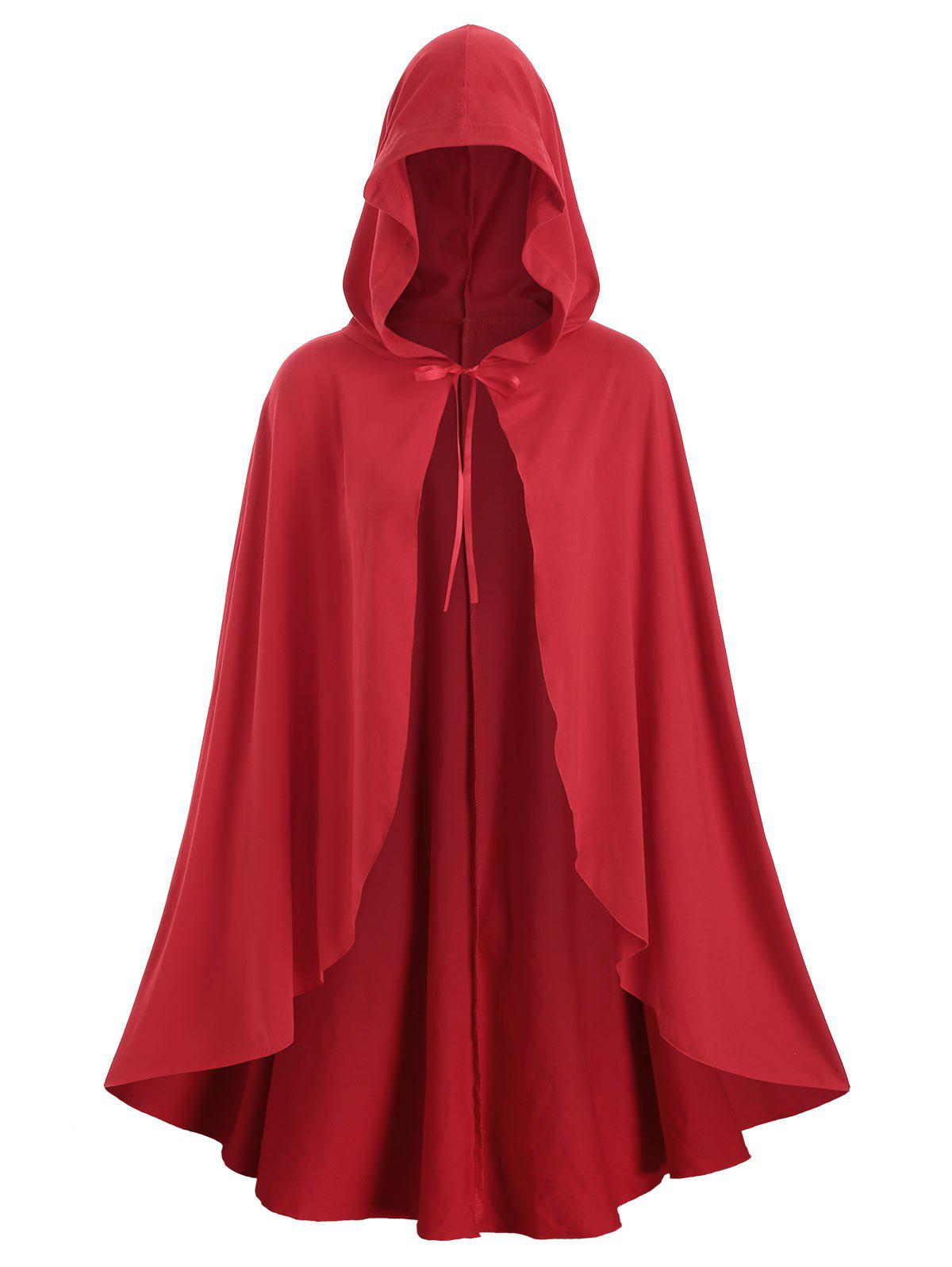 Fancy Plus Size Christmas Hooded Tie Front Cape Coat