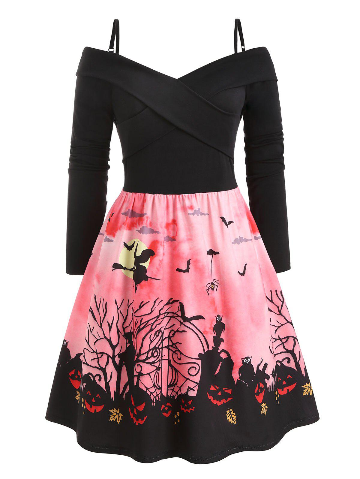 Latest Plus Size Vintage Criss Cross Halloween Print Party Dress