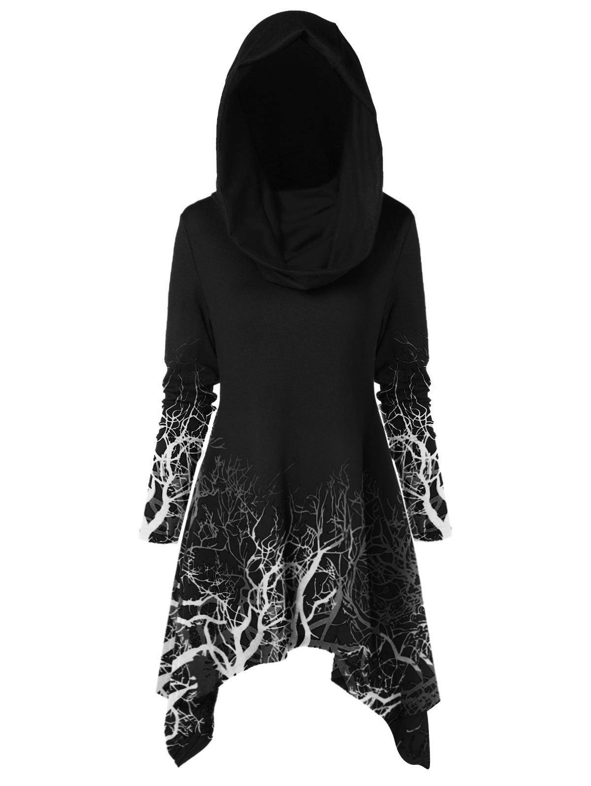 Shops Halloween Tree Print Convertible Collar Longline Knitwear