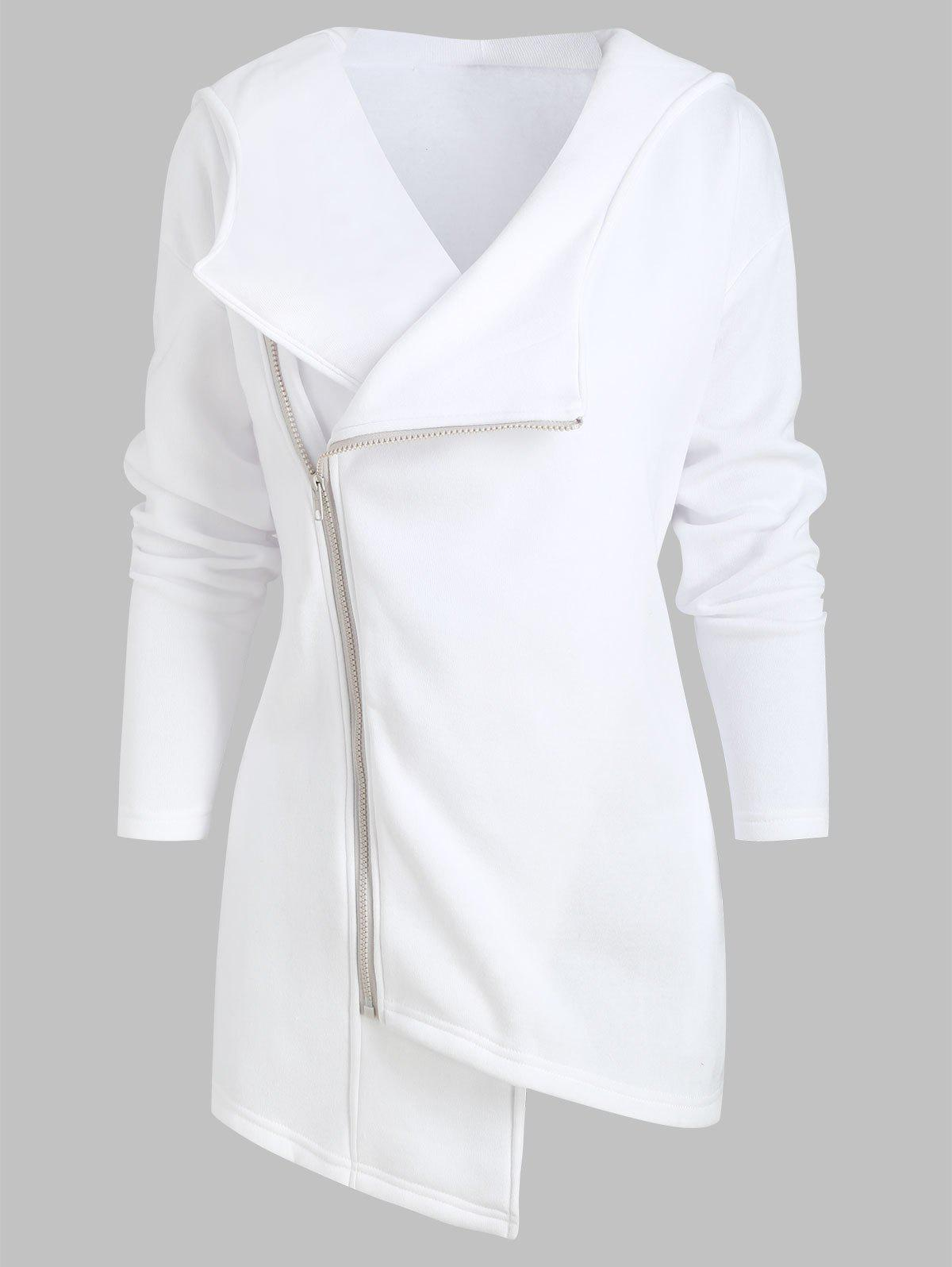 Hot Inclined Zipper Asymmetric Drop Shoulder Hooded Jacket
