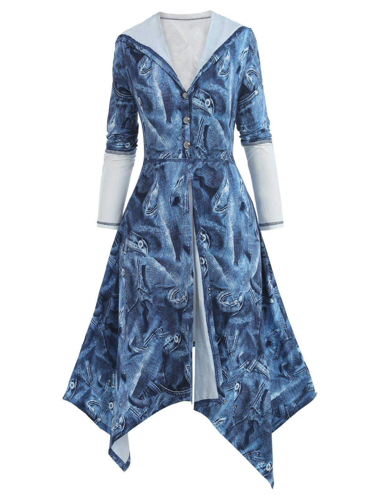 Fashion Plus Size Hooded Denim Print Handkerchief Skirted Coat