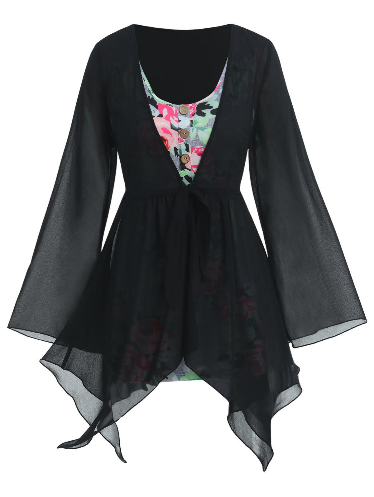 Best Plus Size Handkerchief Sheer Blouse And Floral Top Set
