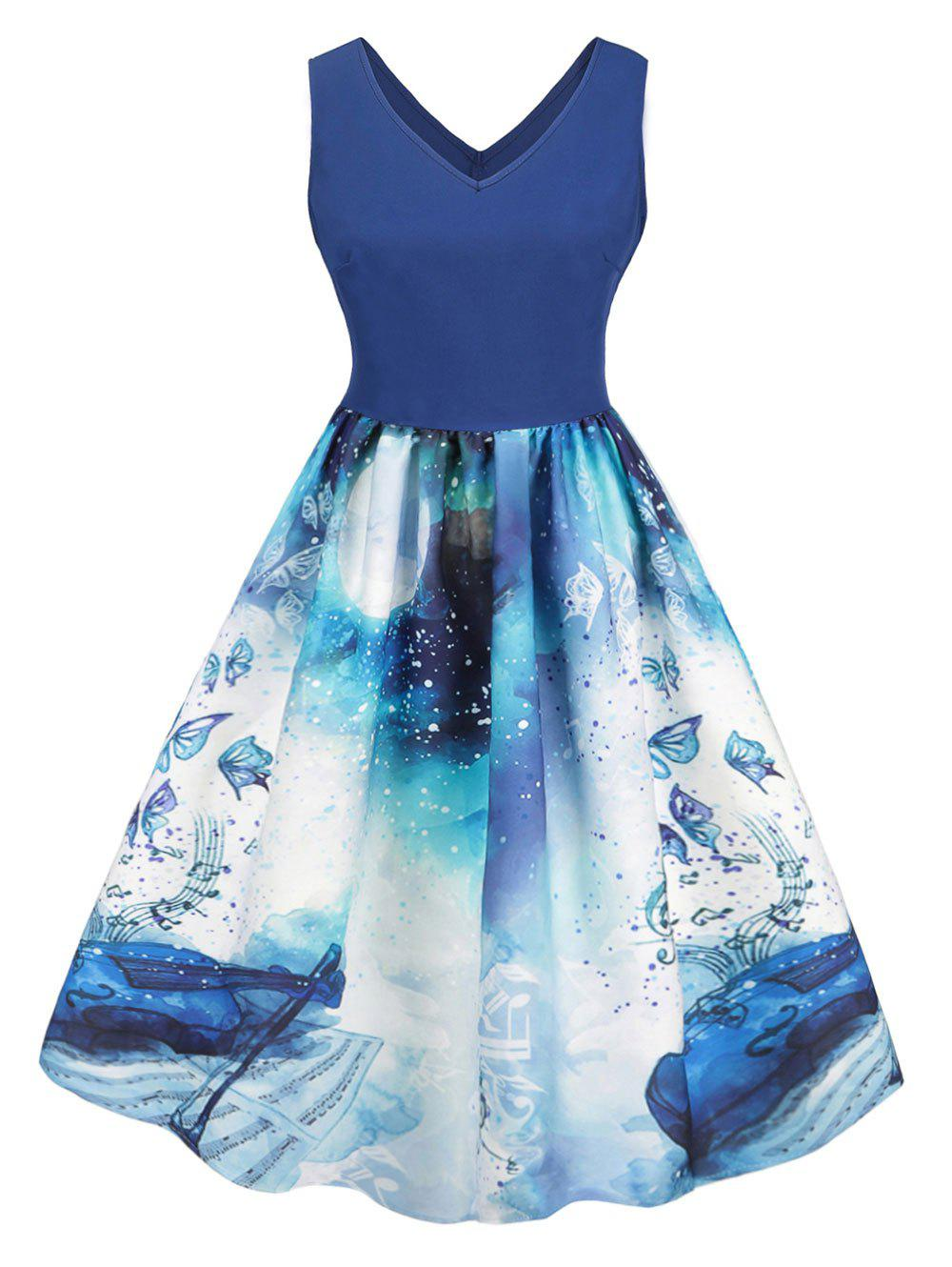 Fashion Plus Size Vintage Butterfly Musical Notes Print Swing Dress