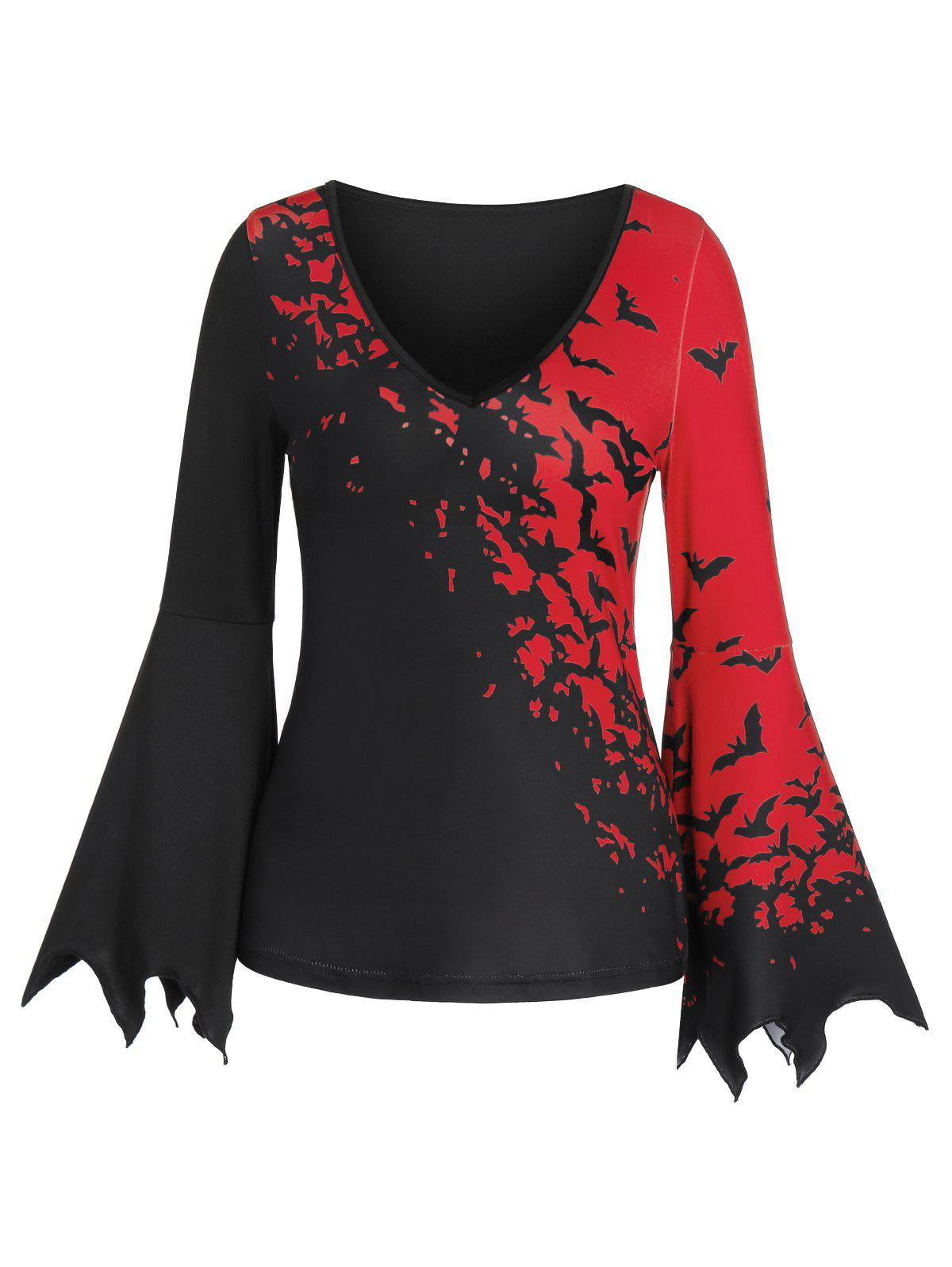 Trendy Bat Print Plunge Long Sleeve T Shirt