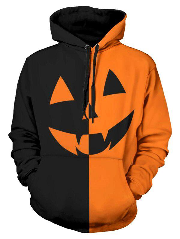 Unique Halloween Pumpkin Two Tone Panel Pullover Hoodie