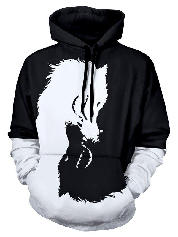 Fancy Colorblocking Pullover Kangaroo Pocket Wolf Hoodie