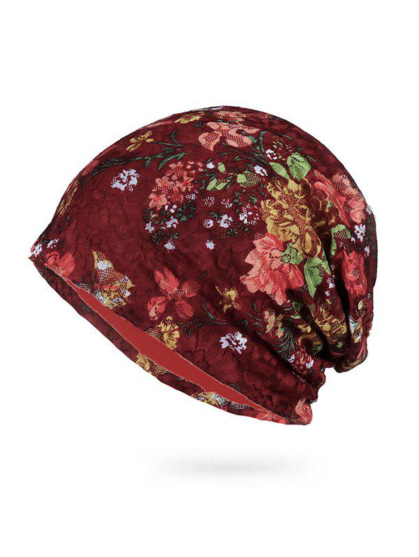 Outfits Casual Floral Pattern Skull Beanie