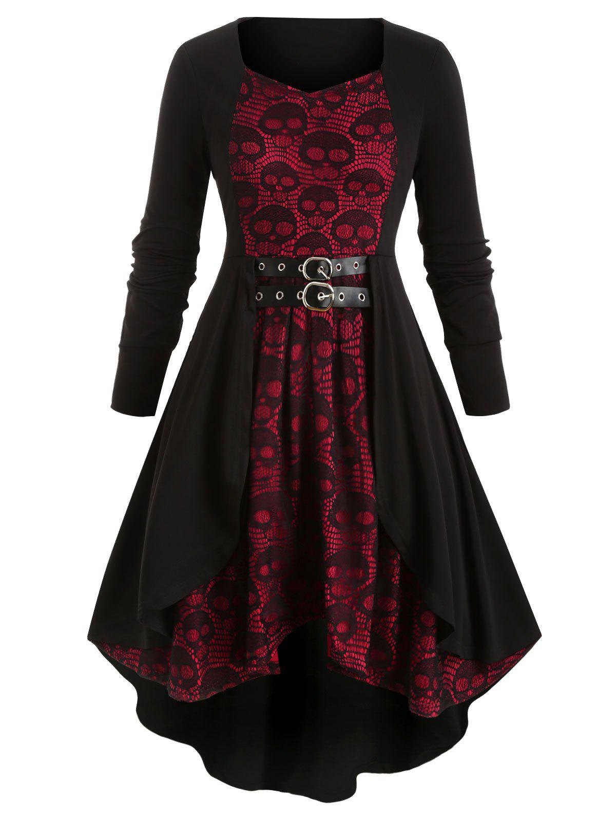 Best Plus Size Skull Lace Halloween High Low Dress
