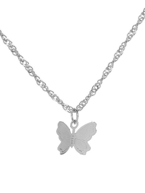 Outfit Butterfly Pendant Metal Chain Necklace