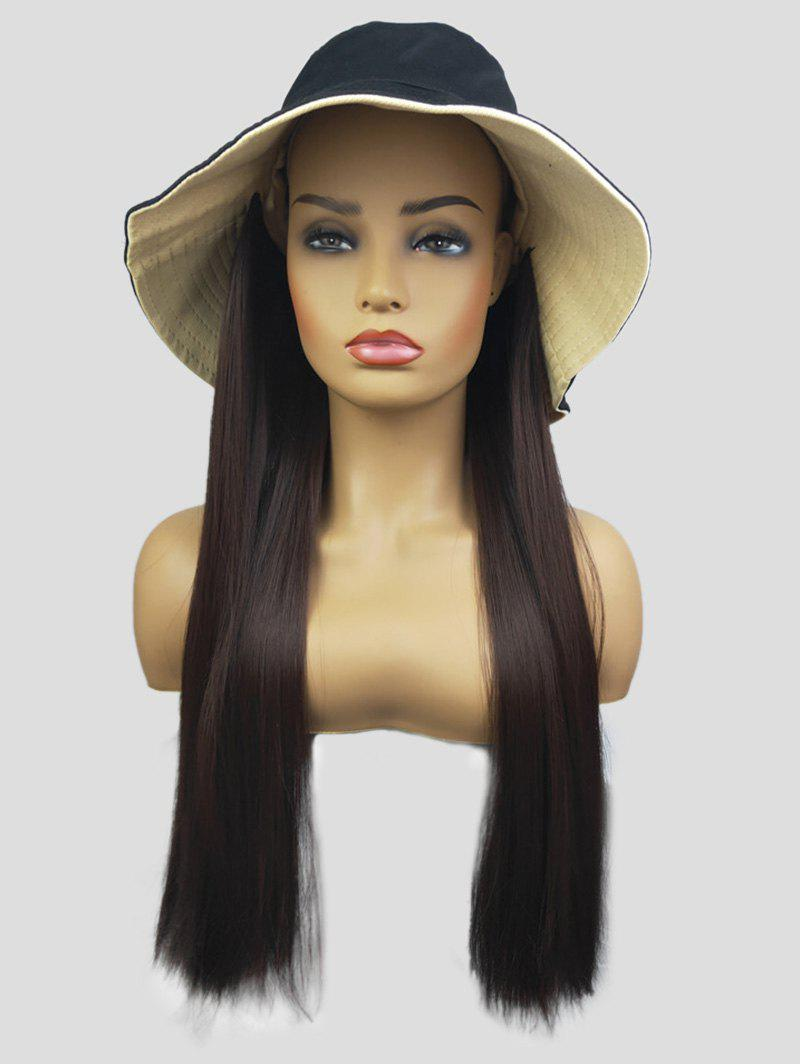 Hot Bucket Hat Integrated Long Straight Synthetic Wig