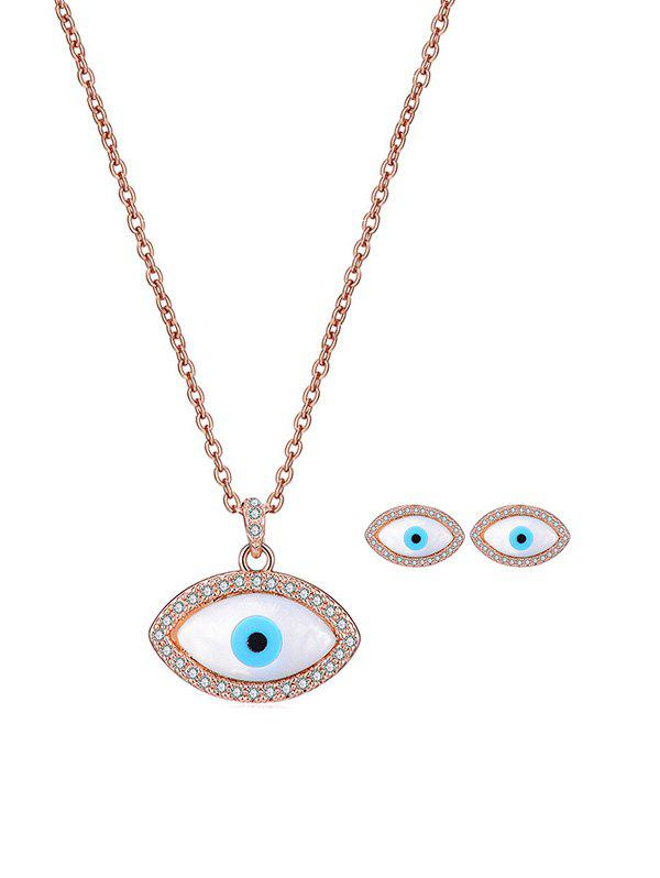 New Eye Shape Rhinestone Necklace Earrings Set